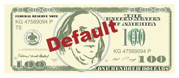 Money and default. One hundred dollar and default stock illustration
