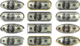 One hundred dollar note buttons. Twelve great buttons of a US one hundred dollar note Royalty Free Stock Photos