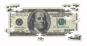 One hundred dollar note puzzle Royalty Free Stock Images