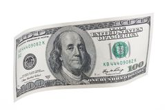 One Hundred Dollar Note. Wavy One Hundred Dollar Bill Royalty Free Stock Photo