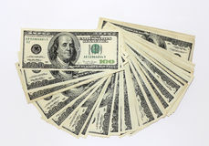 One hundred dollar notes. On white background Stock Images