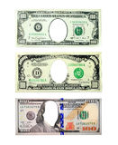One hundred dollar and one thousand dollar notes hole instead presidents isolated. One hundred dollar note and one thousand note with hole instead president Stock Photo