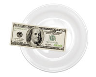One hundred dollar in plate Stock Photography