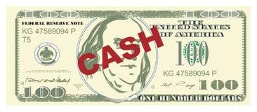 Buks like cash. One hundred dollar and red word cash royalty free illustration
