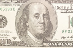 One hundred dollars. Close up of one hundred dollars Royalty Free Stock Photo