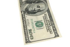 One hundred dollars. One hundred dollar note, background is pure white Royalty Free Stock Image