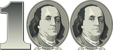 One hundred dollars. The image of the number 100 formed from the images of Ben Franklin on money royalty free illustration