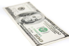 One hundred dollars. On the white background Royalty Free Stock Images