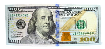 Free One Hundred Dollars And One Dollar Closeup On White Background Stock Photos - 38340033