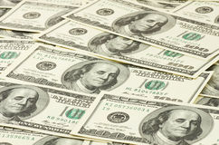 One hundred dollars banknotes. Close up of one hundred dollars banknotes Stock Photo