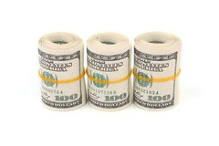 One hundred dollars banknotes. A lot of one hundred dollars banknotes  with soft shadow over white background Stock Image