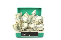 One hundred dollars banknotes in cash box. A lot of one hundred dollars banknotes in cash box isolated with soft shadow over white background Royalty Free Stock Images