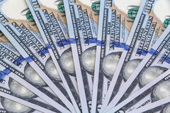 One hundred dollars banknotes. Fan-shaped one hundred dollars banknotes Stock Photography