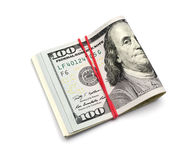 One hundred dollars banknotes. Isolated on white background Stock Image