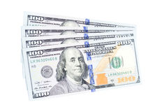 One hundred dollars banknotes. Isolated on white background Royalty Free Stock Photos