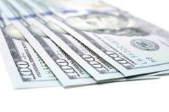 One hundred dollars banknotes. Isolated on white background Stock Photo