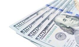 One hundred dollars banknotes. Isolated on white background Royalty Free Stock Photo