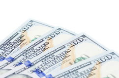 One hundred dollars banknotes. Isolated on white background Royalty Free Stock Images