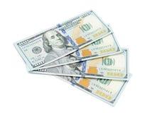 One hundred dollars banknotes. Isolated on white background Royalty Free Stock Image