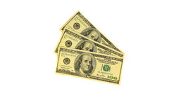One hundred dollars banknotes isolated on white background. One hundred dollars banknotes isolated on the white background Royalty Free Stock Images