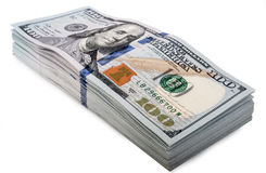 One hundred dollars banknotes isolated. On white background Stock Image