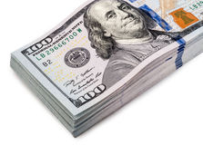 One hundred dollars banknotes isolated Stock Photos
