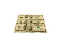 One hundred dollars banknotes isolated on white Royalty Free Stock Image