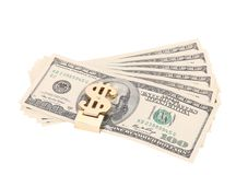 One hundred dollars banknotes in money clip Royalty Free Stock Photos