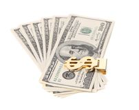 One hundred dollars banknotes in money clip. Stock Photos