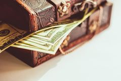 One hundred dollars banknotes. In vintage casket Royalty Free Stock Photos