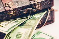 One hundred dollars banknotes. In vintage casket Stock Images