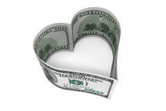 One hundred dollars bill as heart. On a white background Stock Photography