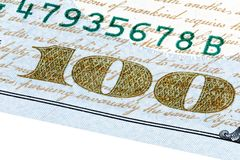 One hundred dollars bill macro stacked photo. High resolution photo Royalty Free Stock Photography