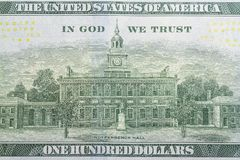 One hundred dollars bill reverse side close up.  royalty free stock image
