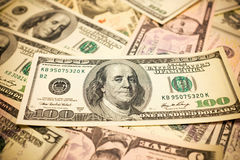 One hundred dollars bills background. Texture Royalty Free Stock Photo