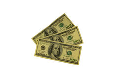 One hundred dollars bills isolated on white background Stock Photography