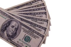 One hundred dollars bills isolated on white. Background Royalty Free Stock Photos