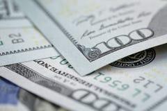 One hundred dollars bills macro Stock Photos