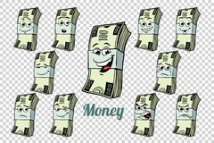 One hundred dollars cash packing emotions characters collection. Set. Isolated neutral background. Retro comic book style cartoon pop art vector illustration vector illustration