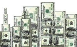 One hundred dollars, city. One hundred dollars bills ,shaped like a cityscape Royalty Free Stock Photography