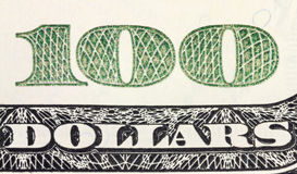 One hundred dollars corner of banknote Royalty Free Stock Photo
