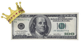 One hundred dollars with the crown. Isolated render on a white background Stock Images