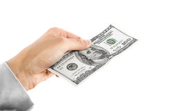 One hundred dollars dollars in hand Royalty Free Stock Photography