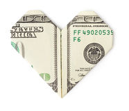 One hundred dollars folded into heart isolated. On white background. Love money concept Stock Photo