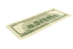 One hundred dollars, isolated. Royalty Free Stock Photography
