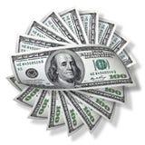 One hundred dollars isolated on white. One hundred american dollars banknotes isolated on white Stock Image