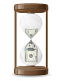 One hundred dollars leaking in the hourglass vecto Royalty Free Stock Images