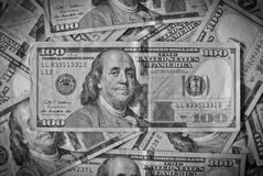 Couple US dollars BW Edition. One Hundred dollars in the middle - BW edition Royalty Free Stock Photography
