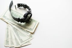 One hundred dollars with modern wristwatch isolated on white background. black watch with money stock images