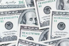One hundred dollars notes background Royalty Free Stock Photos